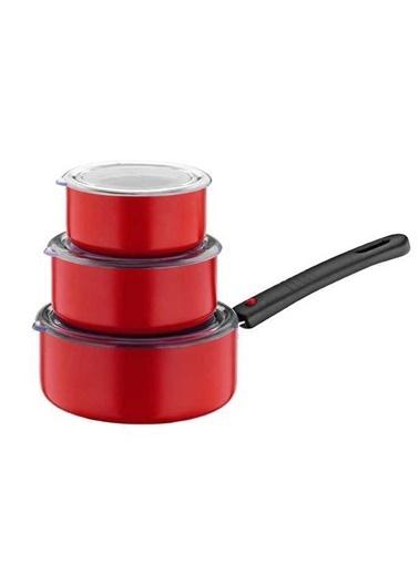 Papilla Redio Tak Çıkar Saplı Saklama Kabı Özellikli Tava Seti Kırmızı Kırmızı